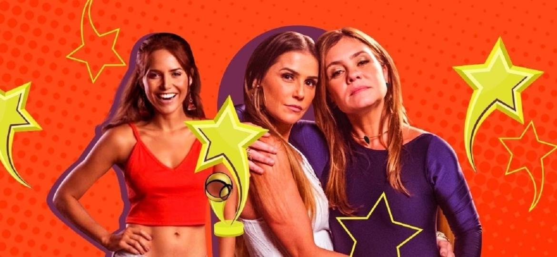 """Letícia Colin (à esquerda), Deborah Secco (centro) e Adriana Esteves (à direita) disputam título de melhor atriz no prêmio """"UOL TV e Famosos"""" - Arte/UOL"""