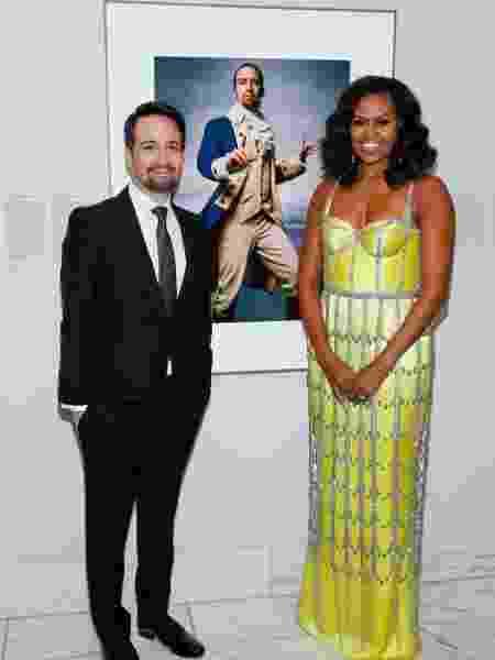 Lin-Manuel Miranda e Michelle Obama, na National Portrait Gallery, em Washington, nos Estados Unidos - Reprodução/Instagram