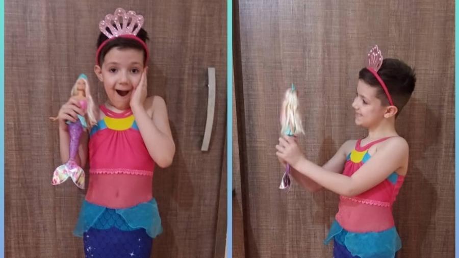 Pietro não conteve a felicidade ao ganhar sua primeira boneca - Acervo pessoal