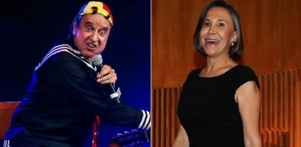 """Carlos Villagrán (à esquerda) e Florinda Meza, do elenco de """"Chaves"""" - Montagem/UOL"""