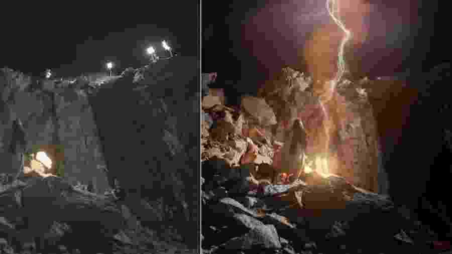 A subida de Moisés ao monte Sinai, gravada no Rio pela produtora Casablanca - Montagem/Divulgação/TV Record