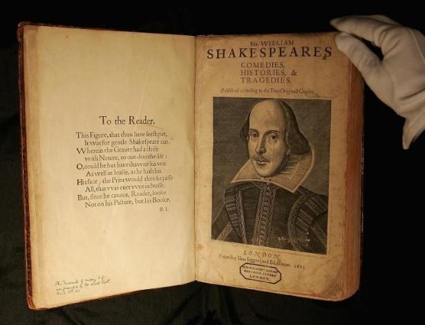 Edição rara da primeira compilação de peças do autor William Shakespeare - Scott Barbour/Getty