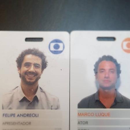 Crachás de Felipe Andreoli e de Marco Luque - Reprodução/Instagram