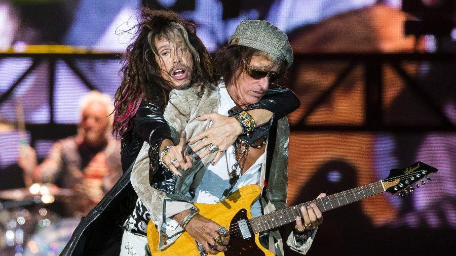 Steven Tyler e Joe Perry durante show do Aerosmith no Rock In Rio - Bruna Prado/UOL