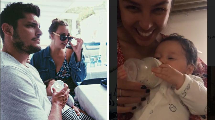 Bruno Gissoni e Yanna Lavigne dão mamadeira para a filha - Reprodução/Instagram
