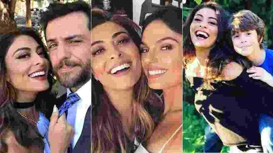 Juliana Paes com Rodrigo Lombardi, Isis Valverde e João Bravo - Montagem UOL