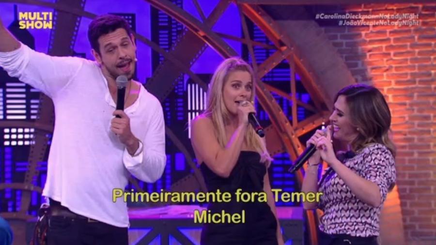"""Tatá Werneck, Carol Dieckmann e João Vicente cantam """"Fora Temer"""" na TV - Reprodução/Multishow"""