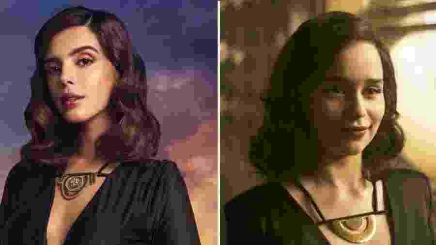 """Giovanna Lancellotti faz ensaio como a personagem Qi""""ra, interpretada por Emilia Clarke em """"Han Solo - Uma História Star Wars"""" - Divulgação/Montagem"""
