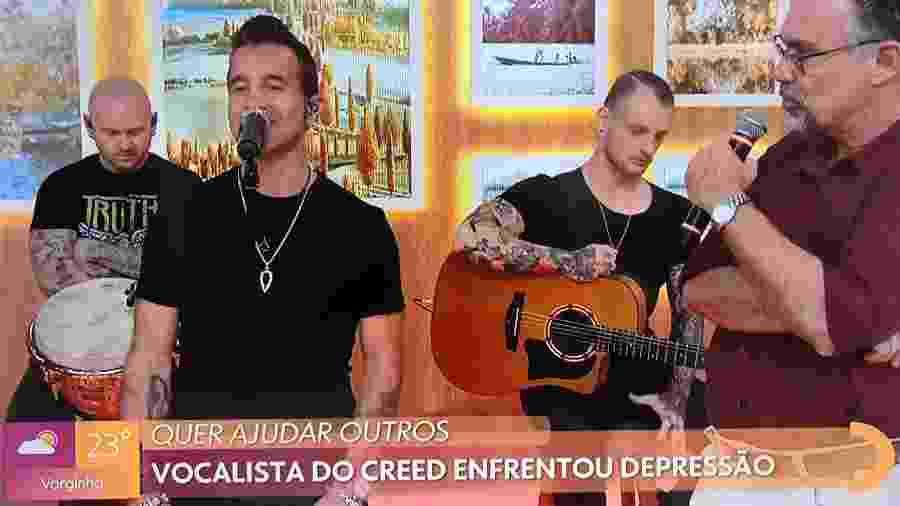 Scott Stap, vocalista da banda Creed, participa do programa Encontro, da TV Globo - Reprodução