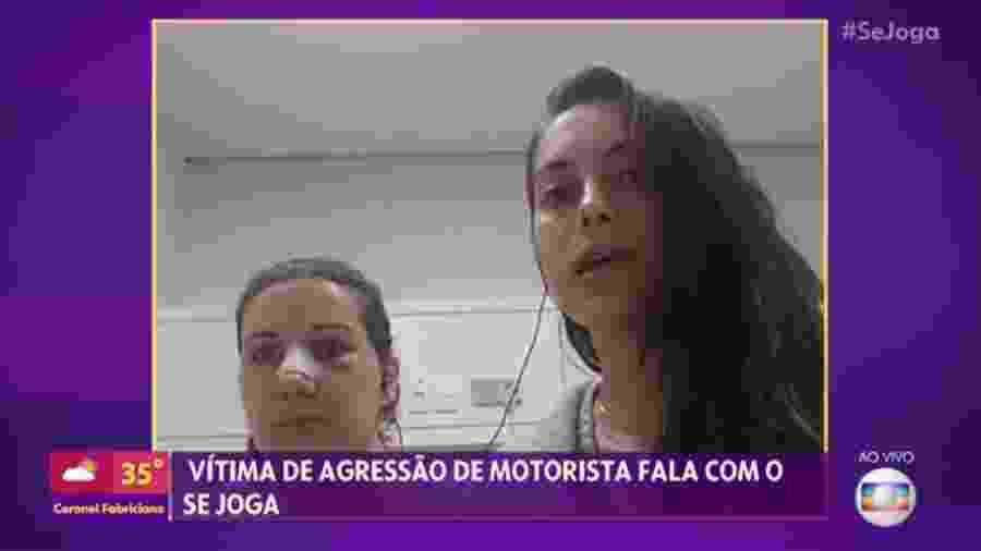 A assessora Jessica Varrasquim e a advogada Tatiana Soares em entrevista so Se Joga direto do hospital - Reprodução/Globo