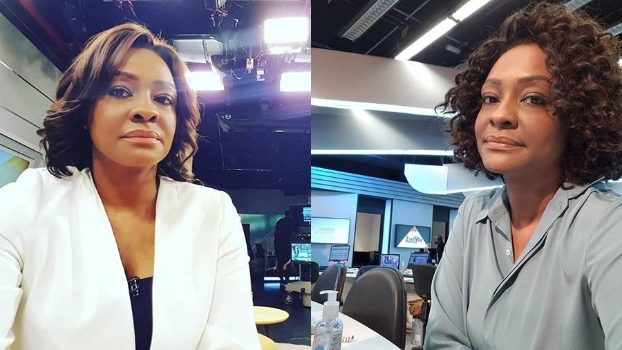 A apresentadora do Jornal da Tarde, Joyce Ribeiro, antes e durante a transição capitar para cachos naturais - Reprodução/Instagram