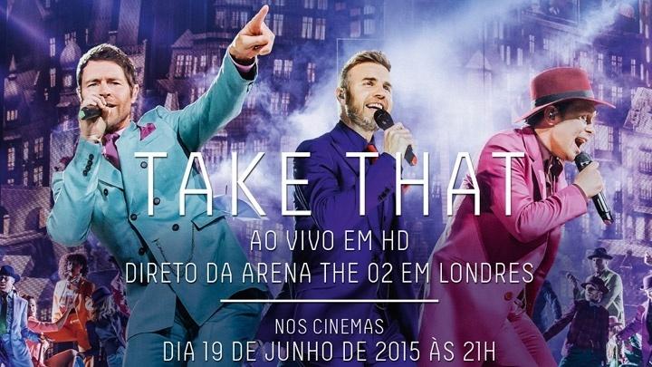 Anúncio da exibição de show ao vivo do ake That, transmitido em 15 salas no Brasil