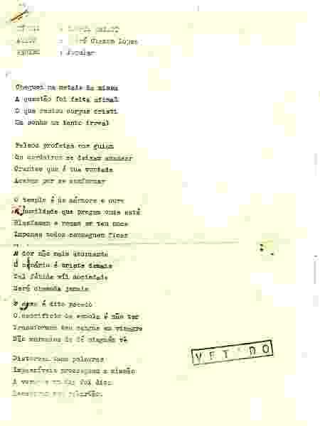 Letra do Stress vetado pela censura do regime militar - Arquivo Pessoal - Arquivo Pessoal