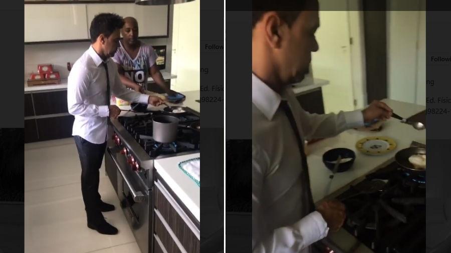 Graciele Lacerda flagra Zezé Di Camargo de terno fritando ovo  - Reprodução/Instagram