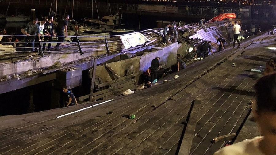 Plataforma cedeu e deixou mais de 300 pessoas feridas no festival El Marisquiño - Instagram/Reprodução