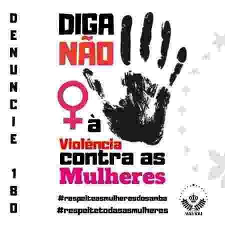 Vai-Vai lança campanha pela denúncia de casos de violência contra a mulher - Reprodução