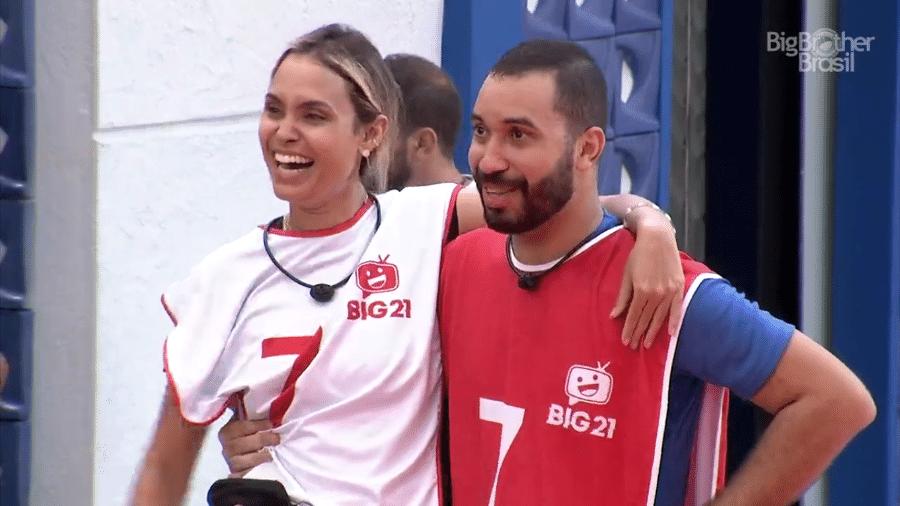 BBB21: Sarah e Gilberto na primeira prova de imunidade - Reprodução/Globoplay