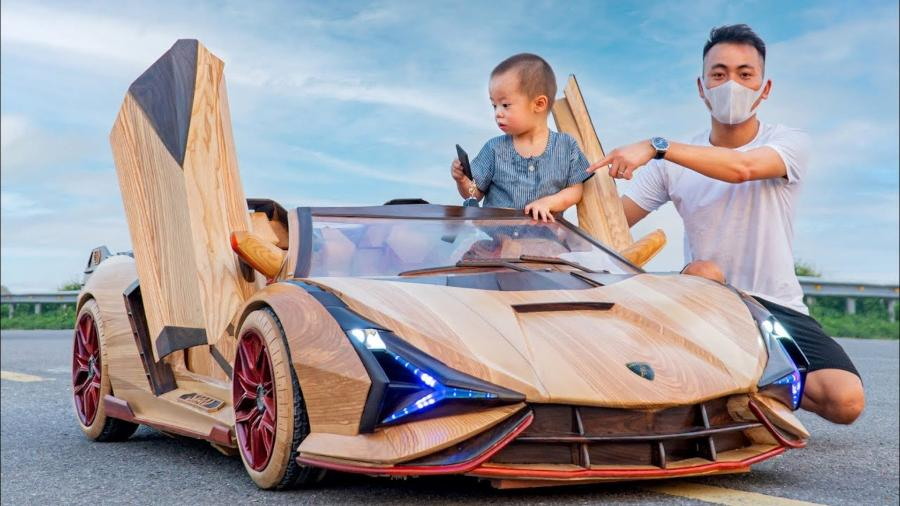 Homem esculpe Lamborghini Sián na madeira - Reprodução