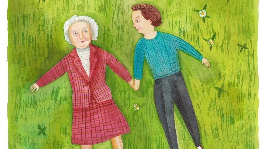 """""""No nosso último Dia das Mães, minha mãe linda e brilhante estendeu os braços e fez asas de anjo na grama"""", diz o relato - Giselle Potter/New York Times"""