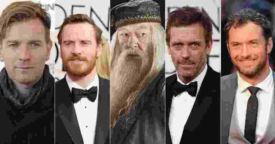 Ewan McGregor, Michael Fassbender, Hugh Laurie e Jude Law são alguns atores que poderiam interpretar a versão mais jovem de Alvo Dumbledore (Richar Harris) no cinema - Montagem/UOL