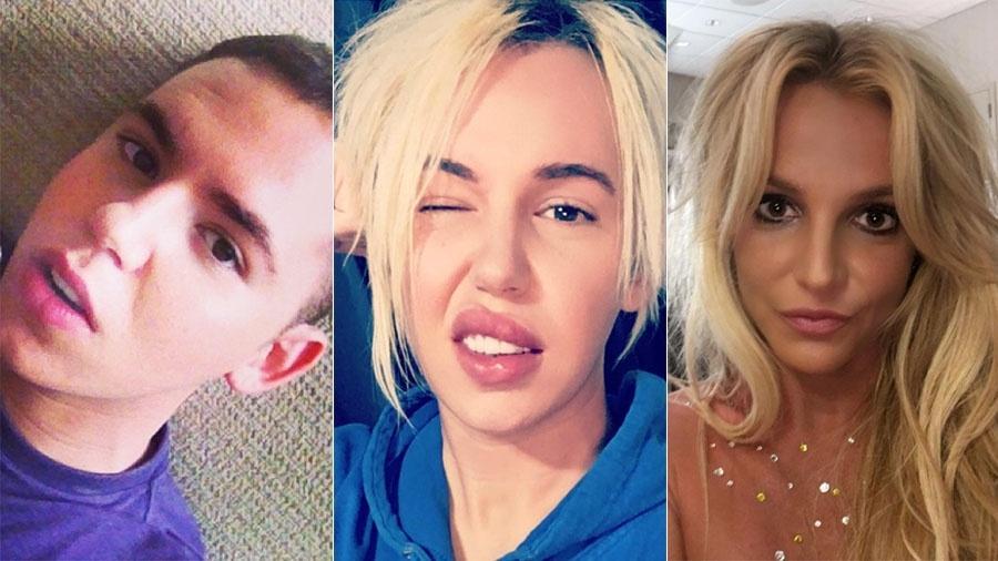 Bryan Ray depois das primeiras cirurgias, hoje e Britney Spears - Reprodução/Instagram