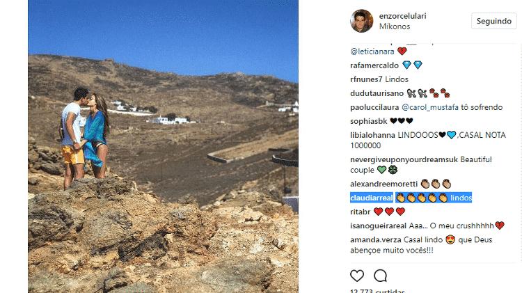 Claudia Raia comenta foto do filho, Enzo Celulari, com a nova namorada - Reprodução/Instagram - Reprodução/Instagram