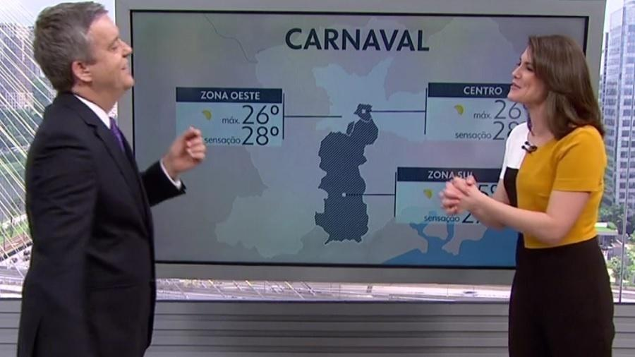 "Eliana Marques se confunde chama Roberto Kovalick de Carlos Tramontina no ""SP1"" - Reprodução/TV Globo"