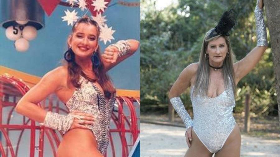 """A ex-chacrete Regina Polivalente quando fazia parte do """"Casino do Chacrinha"""" e atualmente - Divulgação"""