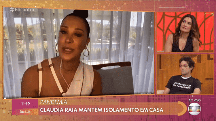 Claudia Raia fala com Fátima Bernardes e Eduarto Sterblitch no 'Encontro' - Reprodução/Globoplay - Reprodução/Globoplay