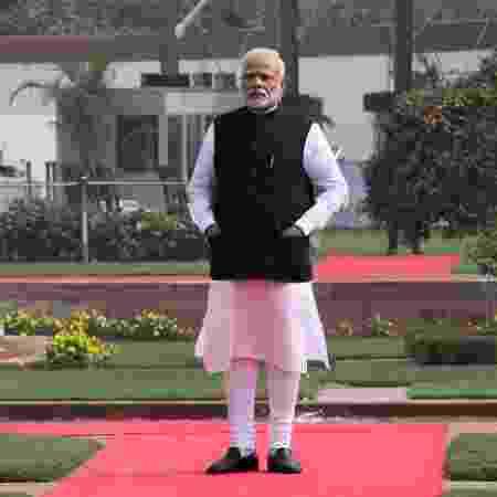 Narendra Modi no dia de seu encontro com Donald Trump em 25 de fevereiro em Nova Déli - Getty Images
