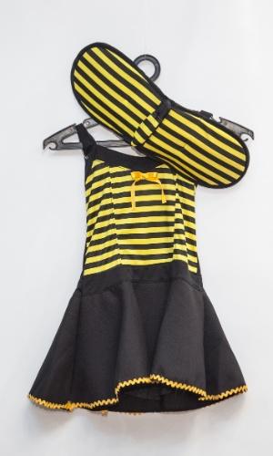 A fantasia de abelhinha custa R$ 72 na loja Porto das Festas e Fantasias (Ladeira Porto Geral, 88 - Centro - São Paulo)