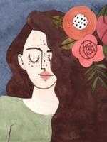 Ilustração de uma personagem representando o signo de Virgem. Vestida com camisa na cor verde claro, a personagem possui forma humana,  enquadramento de busto e está posicionada de frente. Os cabelos longos e castanho-escuros, estão acompanhados de algumas flores. O fundo da imagem é azul escuro.