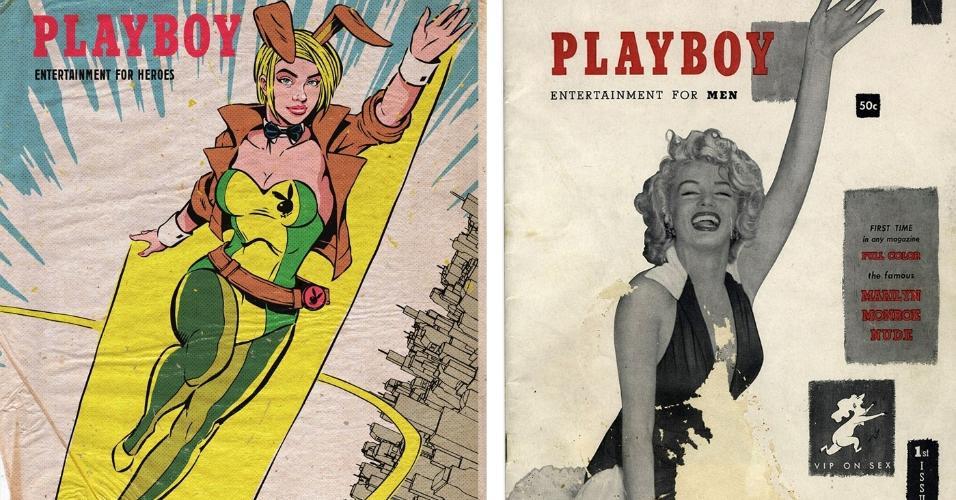 Em trabalho recente, capas antigas da Playboy se misturaram à cultura pop