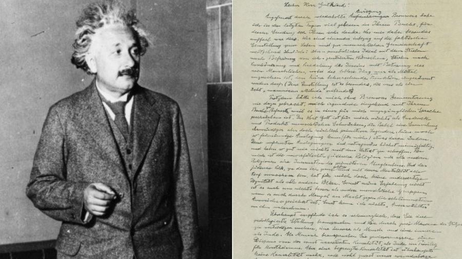 A carta de Albert Einstein para Eric Gutkin, de 1954, aborda a religião em duas páginas manuscritas em alemão - Getty Images/Reprodução