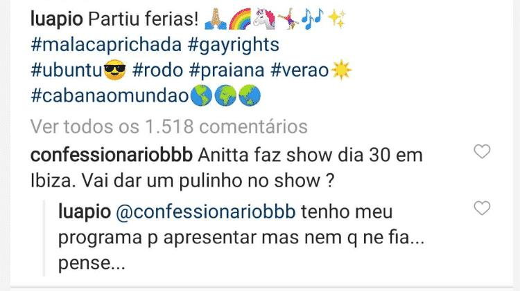 Luana Piovani responde a seguidor - Reprodução/Instagram