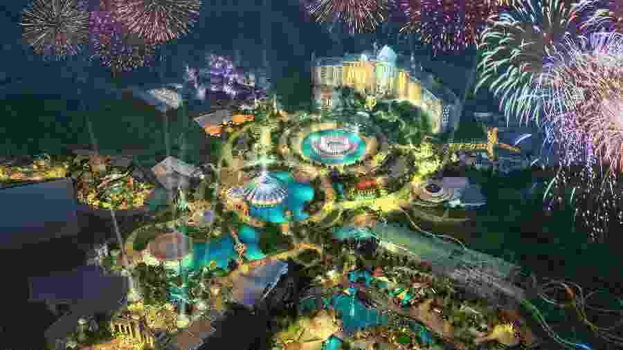 """O Universal""""s Epic Universe apresentará um centro de entretenimento, hotéis, lojas e restaurantes - Divulgação"""