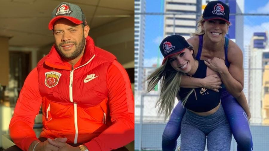 Hulk de um lado e a nova namorada, Camila, carregando a tia, ex de Hulk, nas costas - Reprodução/Instagram/Montagem UOL