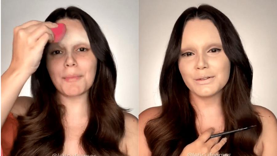 """BBB 21: Letícia Gomes """"se transformou"""" em Juliette utilizando maquiagem - Reprodução/Globoplay"""