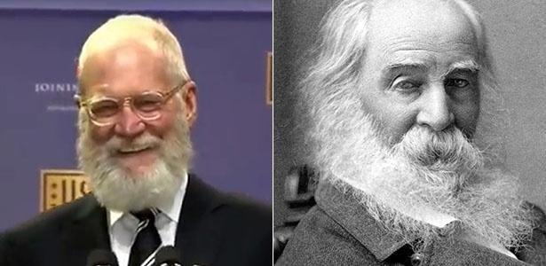 O apresentador David Letterman (à esq.) conta que foi confundido com Walt Whitman, poeta morto em 1892 - Reprodução/YouTube