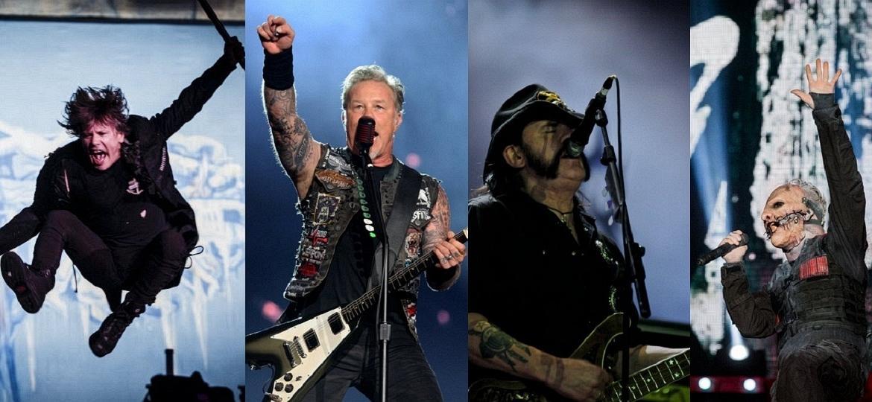 Iron Maiden, Metallica, Motörhead e Slipknot: nomes do som pesado que já tocaram no Rock in Rio - Folhapress/UOL/Montagem