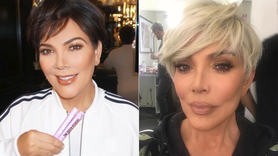 Kris Jenner antes e depois da loirice - Reprodução/Instagram