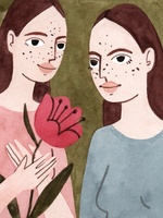 Ilustração de duas personagens representando o signo de Gêmeos. Idênticas, cabelos longos e castanho-escuros, uma vestida com camisa na cor azul e a outra na cor rosa, segurando uma flor rosa nas mãos. As personagens possuem forma humana, enquadramento de busto e estão posicionadas de frente.