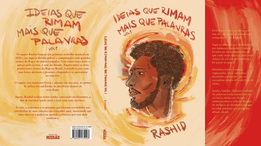 """Capa do livro """"Ideias que rimam mais que palavras - Vol. 1"""", do rapper Rashid - Divulgação"""