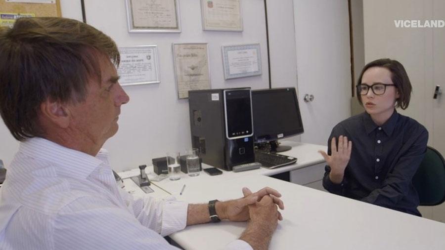 Elliot Page já entrevistou Jair Bolsonaro (sem partido) - Reprodução
