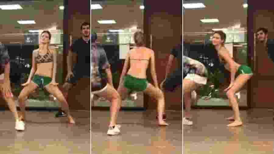 Laura Neiva, de top e shortinho, na aula de dança de Justin Neto - Reprodução/Instagram