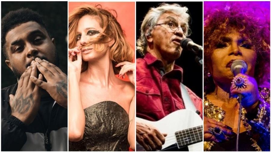 Baco Exu do Blues, Letrux, Caetano Veloso e Elza Soares são alguns dos indicados ao prêmio APCA - Montagem UOL