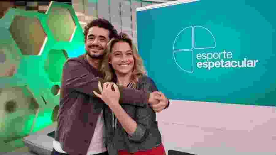 """Fernanda Gentil se despede de Felipe Andreoli na apresentação do """"Esporte Espetacular"""" - Reprodução/Facebook"""