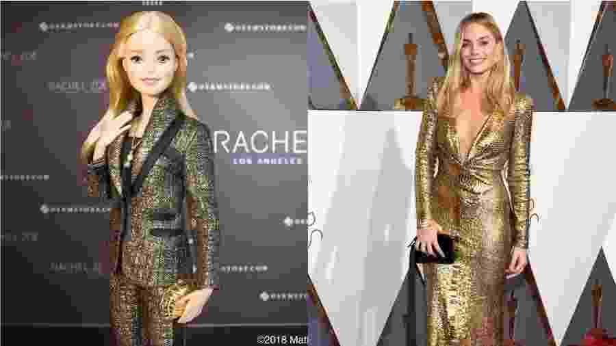Em 2016, Margot brilhou (literalmente) em um vestido dourado poderoso ao participar do Hollywood & Highland Center Awards -- cor que também faz parte do look da boneca mais famosa do mundo - Reprodução/Instragram/Reuters