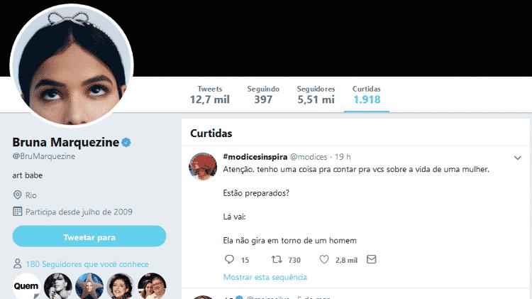 Bruna Marquezine curte post no Twitter - Reprodução/Twitter/@brumarquezine - Reprodução/Twitter/@brumarquezine
