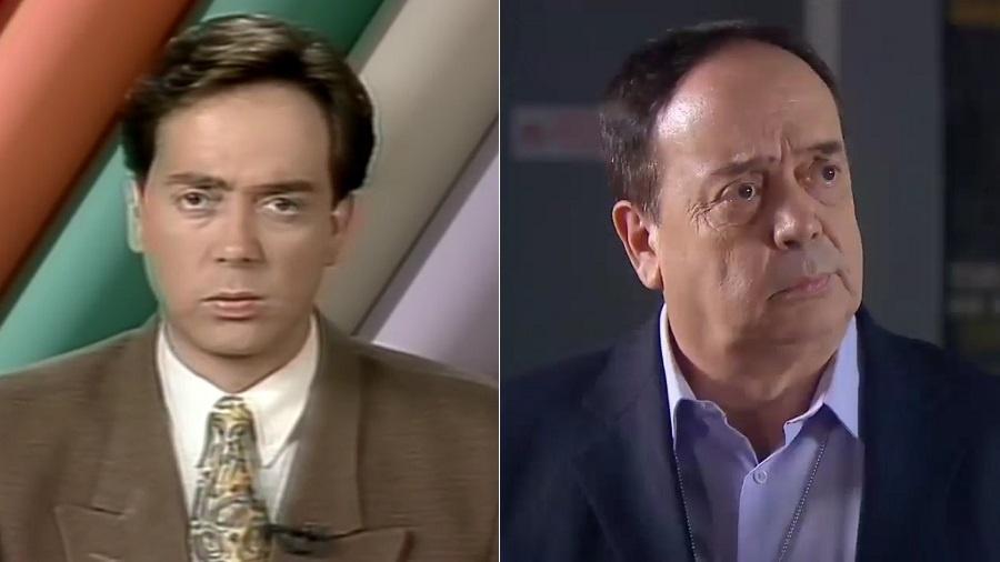 """Ivo Morganti como apresentador do telejornal """"Aqui Agora"""", em 1991, e como ator em """"As Aventuras de Poliana"""" - Montagem/UOL/Reprodução/SBT"""